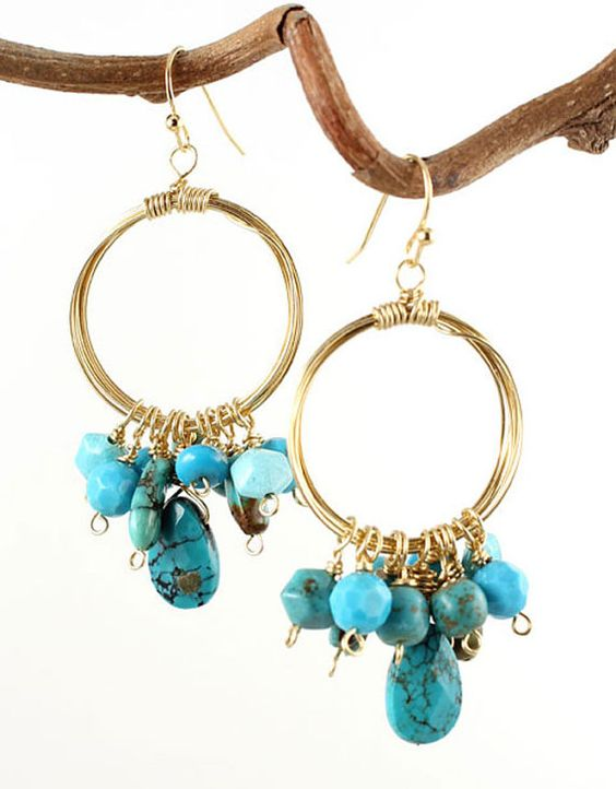 Turquoise faceted briolette with a cluster of by ninaforrest, $48.00