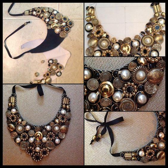 Pechera de botones #accesories #crefts #diy #buttoms #gold #black baby collar by @Elisa Bieg Luna
