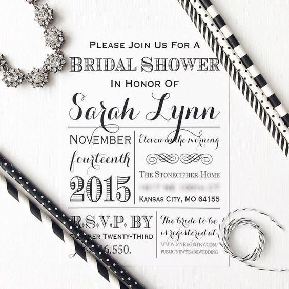 Black White Bridal Shower Invitations Printed Wedding Vintage – Black and White Wedding Shower Invitations