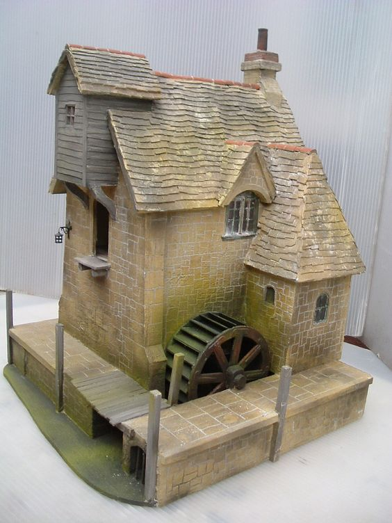 Period Dollhouse With Water Mill Great Brick Detail