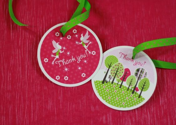 Fairy party favor tags ~ with whimsical forest trees and dainty flying fairies ~ pink and green
