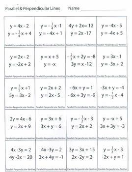 Worksheets Parallel And Perpendicular Lines Worksheet Answer Key equations of parallel and perpendicular lines homework sheets image 8