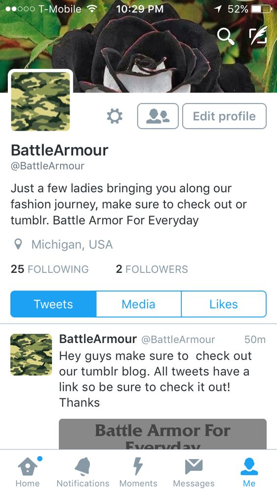 """Hey guys if you have a Twitter please check out """"Battle Armor for Everyday"""" which Is a tumblr blogs Twitter page, that has links to the blog posts. This Twitter account and tumblr blog is ran by me and fellow fashion lovers and pinners. Thank you so much, we love you all!"""