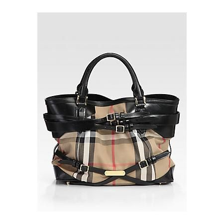 Burberry Medium Check Tote - Black