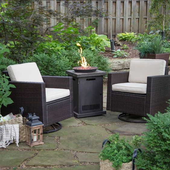 Patio Set with Fire Pit Table Sets And Chairs Propane Gas 3 Piece Wicker For 2…