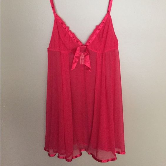 NWTVS Lingerie New with tags!  Red sheer baby doll with satin trim.  Comes with matching thong. Victoria's Secret Tops