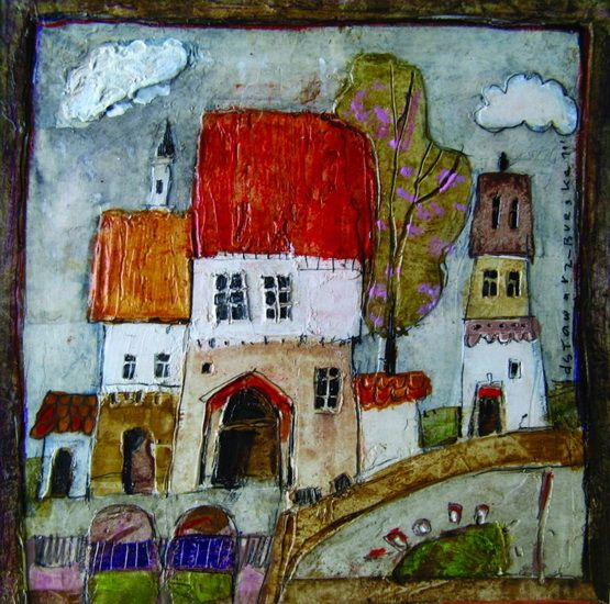 Ceramic art tile featuring a painting of a Polish artist