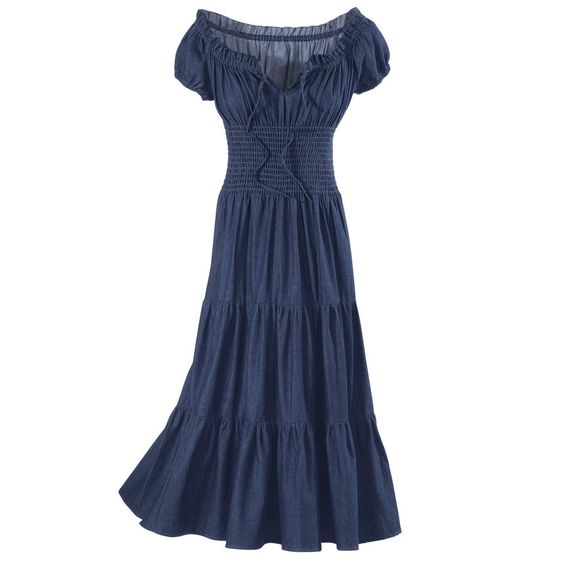 Denim Peasant Dress - New Age, Spiritual Gifts, Yoga, Wicca, Gothic, Reiki, Celtic, Crystal, Tarot at Pyramid Collection: