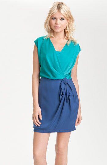 Colorblock Faux Wrap Dress