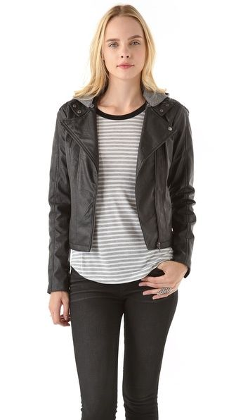Faux Leather Jacket with Fleece Hood (via http://www