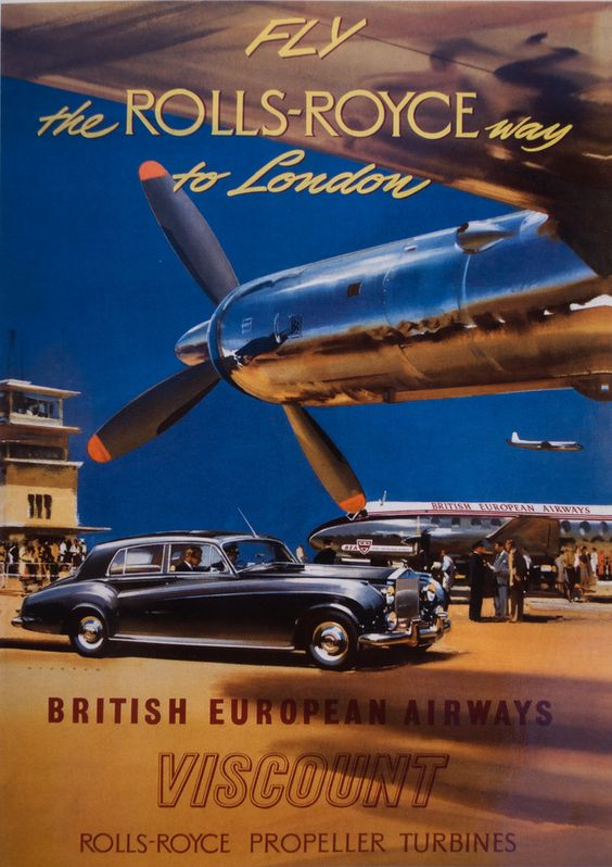 Fly the Rolls Royce way Vintage BEA poster. Circa 1953. Artist Frank Wooton. BA Archives & Museum collection. Photographed with a D60.