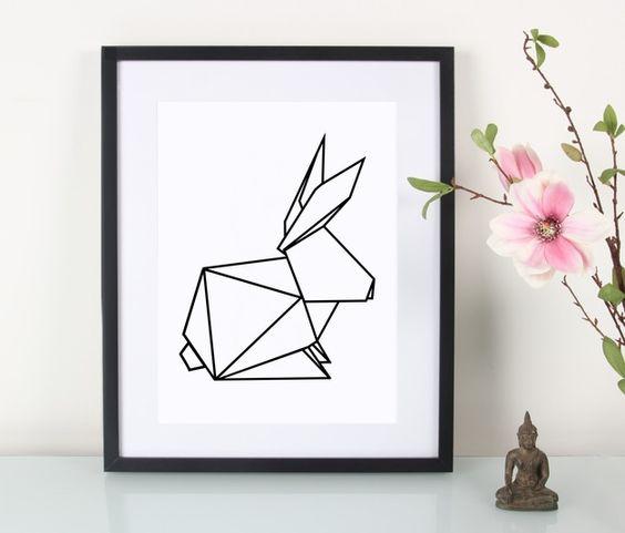 Illustrationen - Artprint / Geometrischer Hase - ein Designerstück von Eulenschnitt bei DaWanda