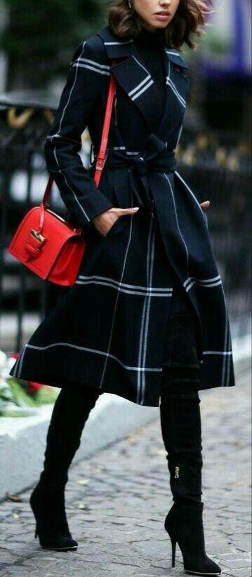 Black white striped coat