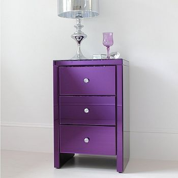 I can't think of anything more amazing than a purple mirrored chest of drawers. OMG.