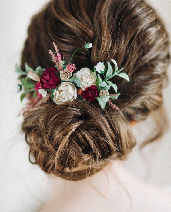 Цветочный гребень с бордовыми пионами и розами — Workshop Leteria