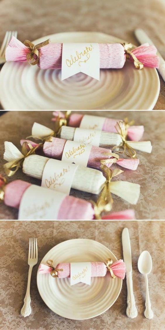 Weddbook ♥  DIY cute place settings. DIY Candy Poppers. Wedding favor ideas. pink diy favor