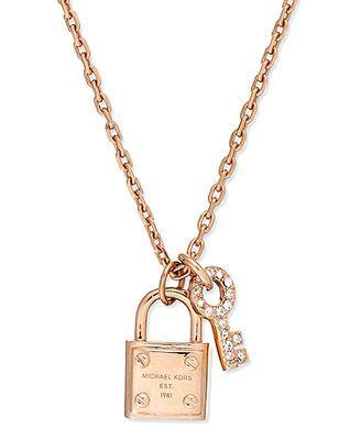Michael Kors Rose-Gold-Tone Padlock and Key Charm Necklace