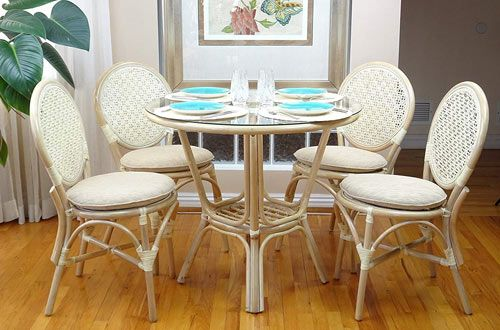 Rattan Wicker Dining Round Table Glass Top Set Glass Round
