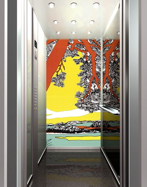 Inside of an elevator car decorated by Marimekko. Inspired ...