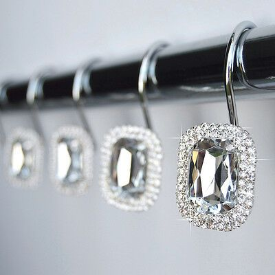 Shower Curtain Hooks Rings Luxurious Crystal Rhinestone Diamond