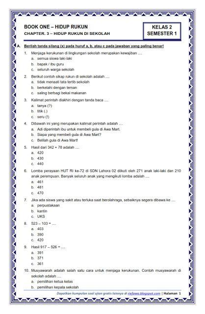 Download Soal Kelas 2 Semester 1 Tema 1 Subtema 3 Hidup Rukun Hidup Rukun Di Sekolah Rief Awa Blog Down Matematika Kelas 8 Matematika Kelas 4 Kurikulum