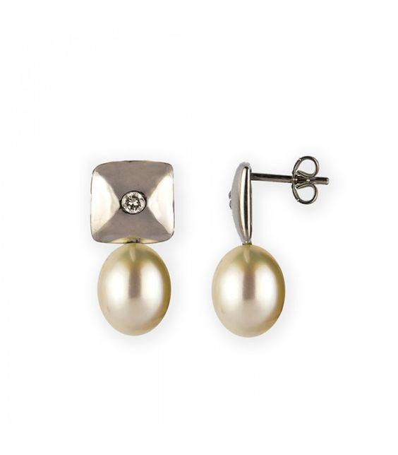 Pendientes de Oro Blanco 18kt con Perlas Cultivadas y Diamantes 0,10ct. En subasta online - Subastas Regent's | Joyas y Antigüedades
