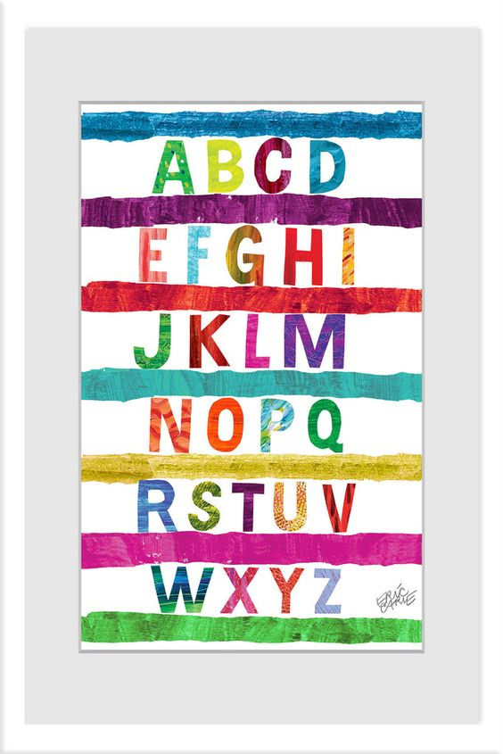 Alphabet Stripes 2 - Eric Carle. Art on canvas, also available as framed art. Looking for a baby shower gift or art for a child's bedroom? This is perfect!