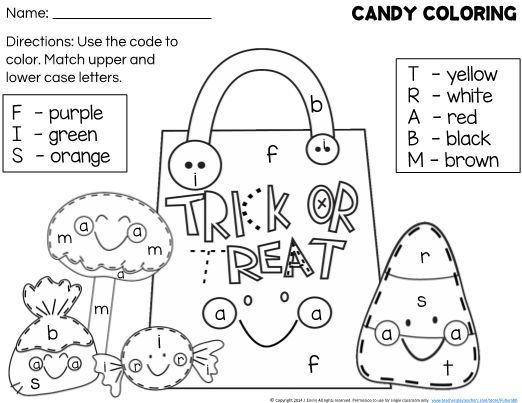 Free Halloween Coloring Worksheet For Letter Recognition Color Worksheets For Preschool Halloween Worksheets Kindergarten Preschool Colors