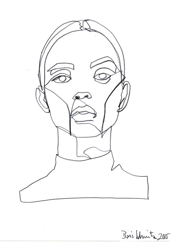 "borisschmitz: "" ""Gaze 324″, continuous line drawing by Boris Schmitz "":"