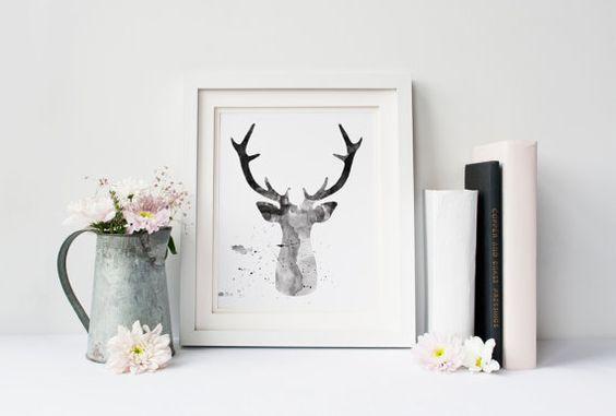 Printable poster, Watercolor deer silhouette, Deer poster, Watercolor poster, Black and grey, Instant download, Digital poster