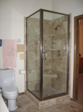 Continuous Hinged Door With Inline Panel Door Has A 6 Through The Glass Handle Shower Enclosure Frameless Glass Shower Enclosure Frameless Shower Enclosures