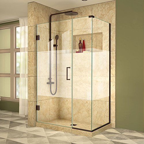 875 Glass Shower Door For Corner With Black Trim Dreamline Unidoor Plus 30 3 8 In D X 42 1 2 In W Shower Doors Black Shower Doors Corner Shower Enclosures