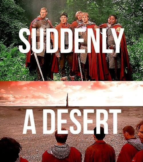 only in merlin.. I always thought of it, not as a desert, but as a radius of evil and death that prevented the life of plants to flourish! <--- This!