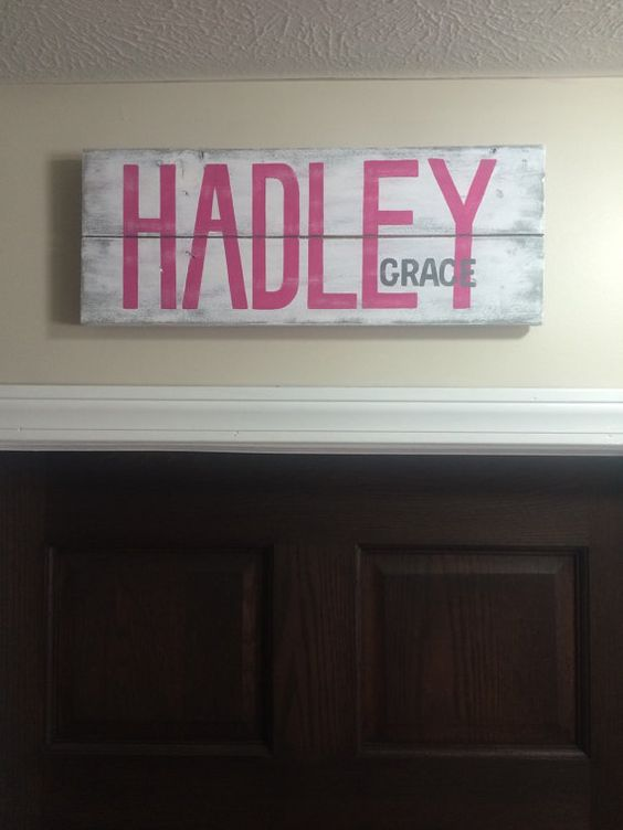Custom Nursery Baby Name sign. Personalized name by GrayKeyDesigns