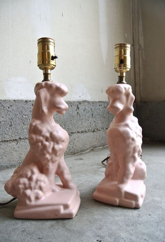 10% OFF - Pretty Vintage Pink Poodle Lamps - Set Of 2 - Ceramic Poodle Lamps - Little Girl's Room Lamp - Novelty Lamps - Dog Lamps