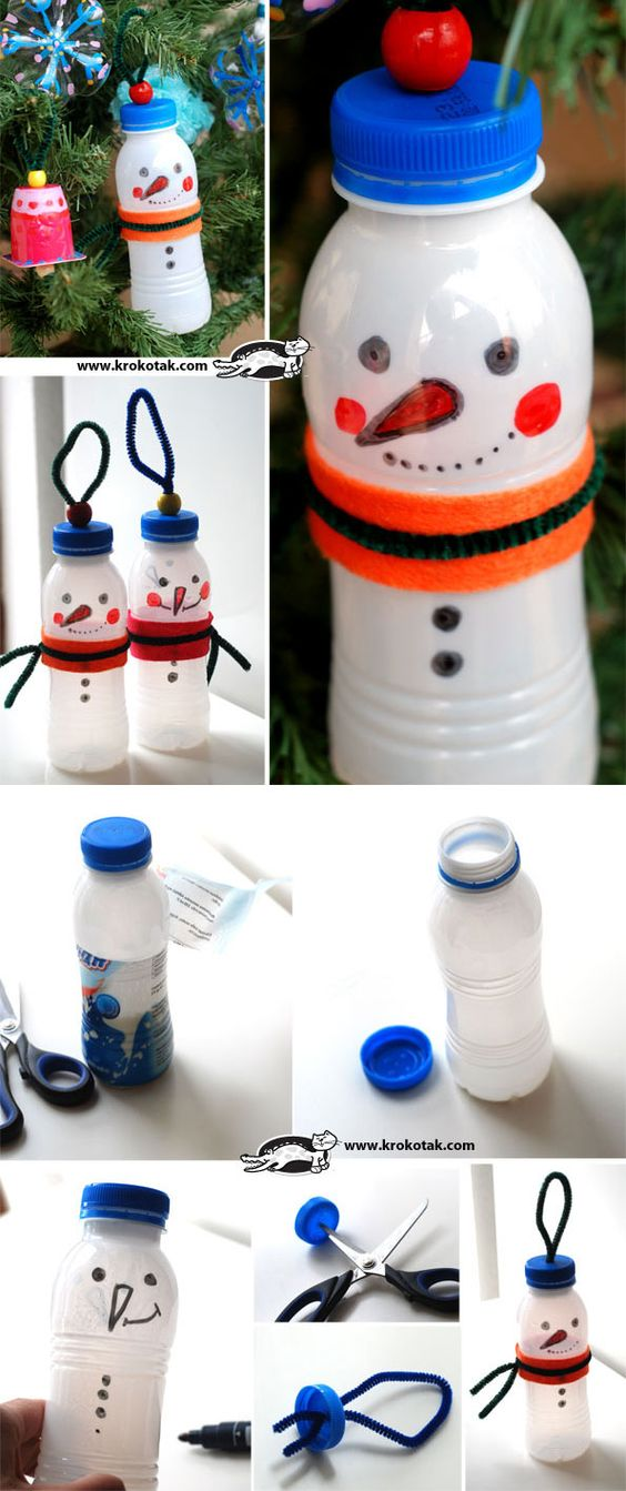 Bottles of water snow and le 39 veon bell on pinterest for Plastic snowman