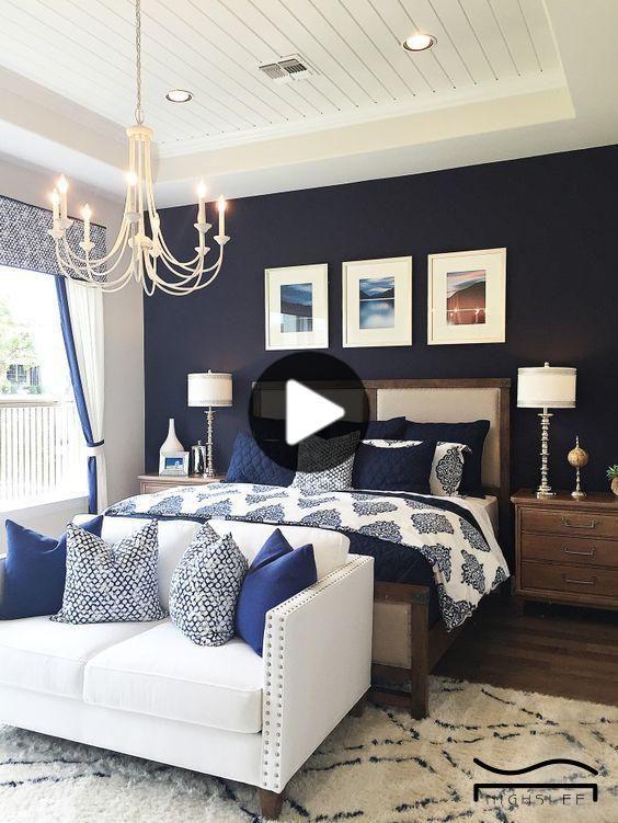 青の寝室のネイビーブルーのベッドルームのアイデア美容現代のベッド
