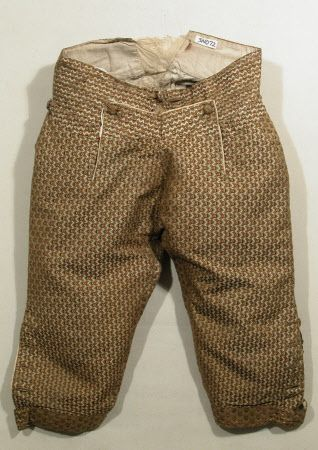 Breeches  National Trust Inventory Number 1348772.2 Date	1770 - 1780 Materials	Glazed wool, Hessian, Linen, Satin, Silk, Silk satin, Silk twill, Wool Collection	Snowshill Wade Costume Collection, Gloucestershire (Accredited Museum)