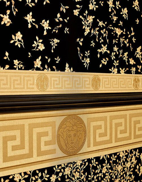 935262 Versace Small Medusa Border Gold And Black Wallpaper Versace Home Wallpaper