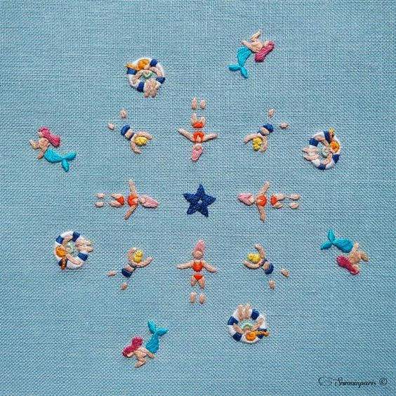 Hand Embroidery DIY PDF Digital Pattern: The Bathers Beginner | Etsy