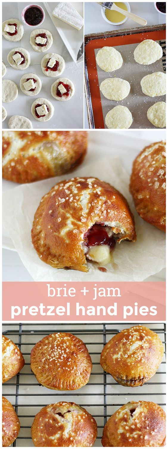 Brie & Jam Pretzel Hand Pies -- pretzel-ized hand pies filled with melty Brie cheese and sweet jam for a perfect bite-sized treat! girlversusdough.com @girlversusdough: