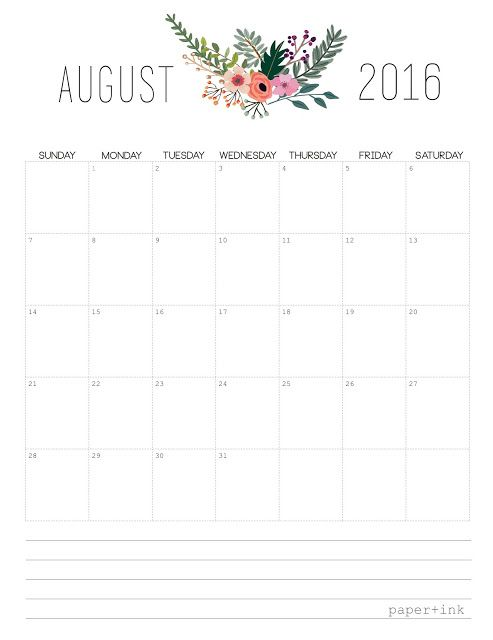 Free Printable - August 2016 Monthly Calendar - Binder Format - Floral Design: