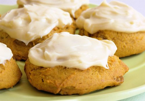 Pumpkin pillows with cream cheese frosting!#pumpkin #cookies