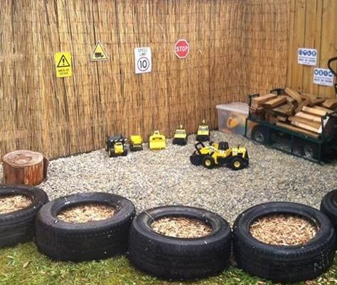 Instead of a sandpit, why not make a truck play area?! All you need are some stones, trucks, timber, signs & anything else you can think of!!  #kids #playeareas