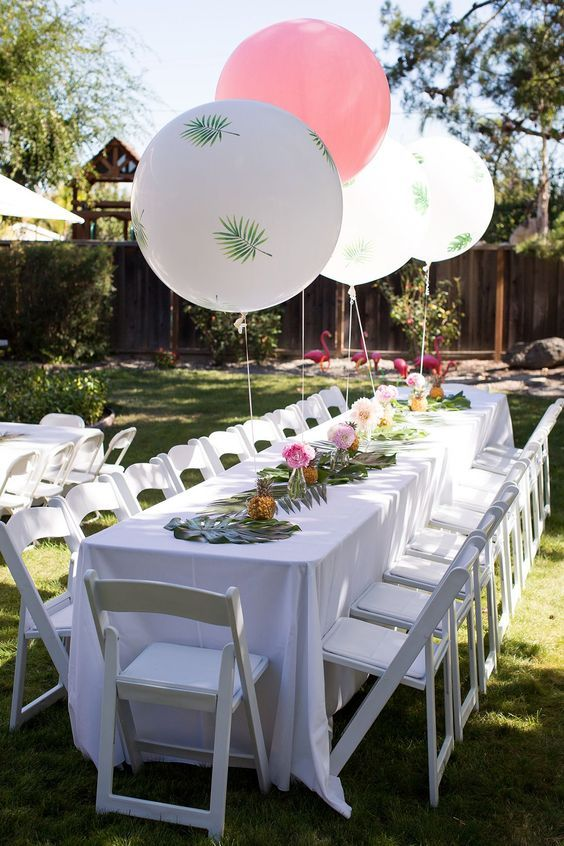 Will You Have A Backyard Party Recently How About This Decoration Pink Ballons G Garden Party Decorations Flamingo Birthday Party Birthday Party Decorations