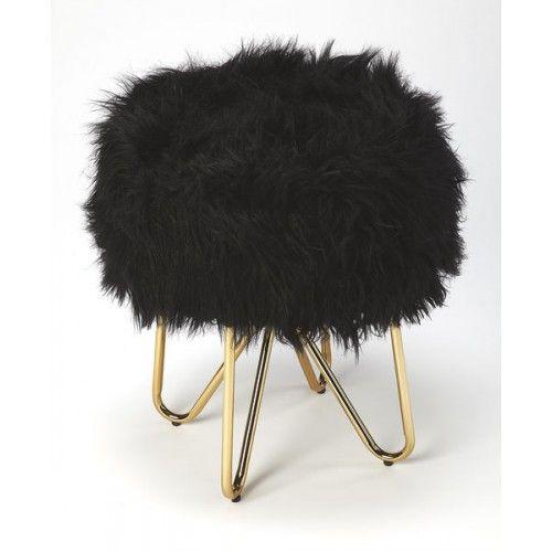 Black Faux Fur Gold Legs Vanity Seat Footstool Black Gold
