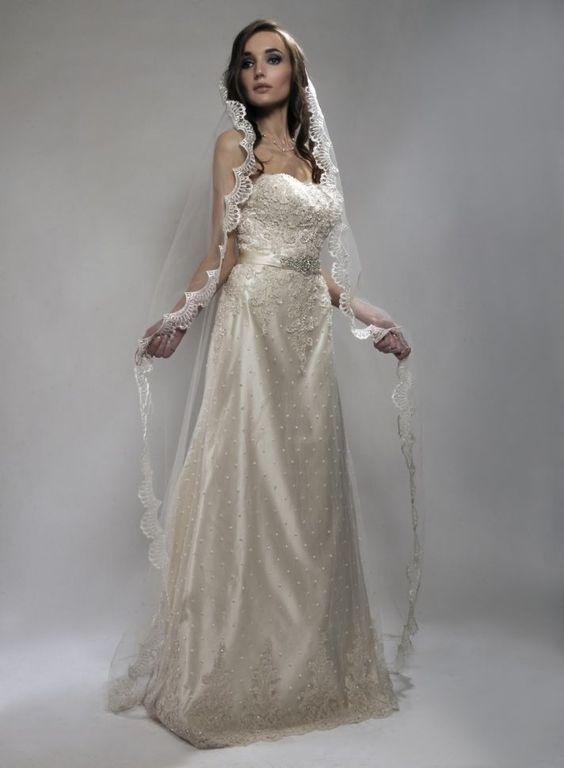 images of wedding gowns & veils | chapel-length-bridal-veil-wedding-accessories-romantic-wedding-dress ...