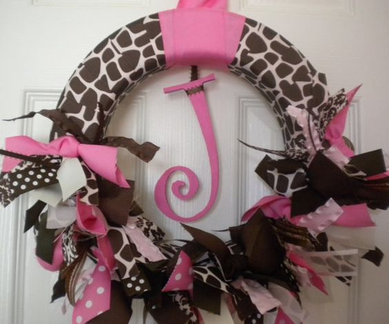 Giraffe new baby girl ribbon wreath for hospital door, nursery and baby shower or birthday party