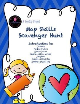 This activity is sure to get your year started off right! This Scavenger Hunt will help you introduce a variety of map concepts!Focus Skills and Concepts:*The location of the Continents and Oceans*Using a Compass Rose *Finding Relative Location*The Equator and Prime Meridian*Hemispheres*Reading a Political Map*Reading a Physical MapIncluded in this packet:*Pretest*Links to Online Maps*Black and White Printable Maps of the World-Continents and Oceans*Labeled Political World Map*Labeled…