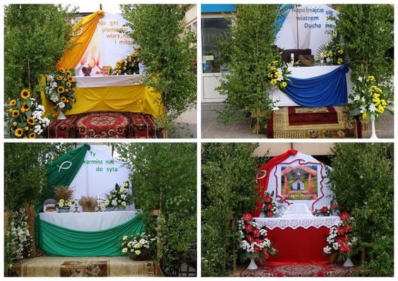 Examples of typical rural off-road altars with birch trees prepared for the Corpus Christi procession